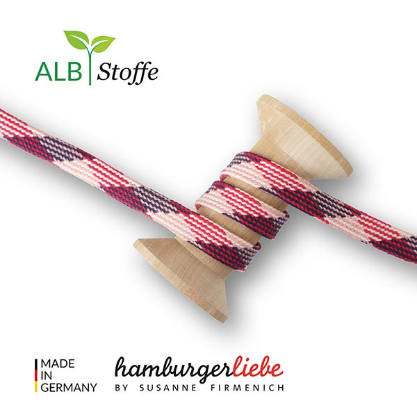 Bio Flechtkordel GOTS Twist Me Plaid [ 24 mm ]   Albstoffe – altrosa/signalrot
