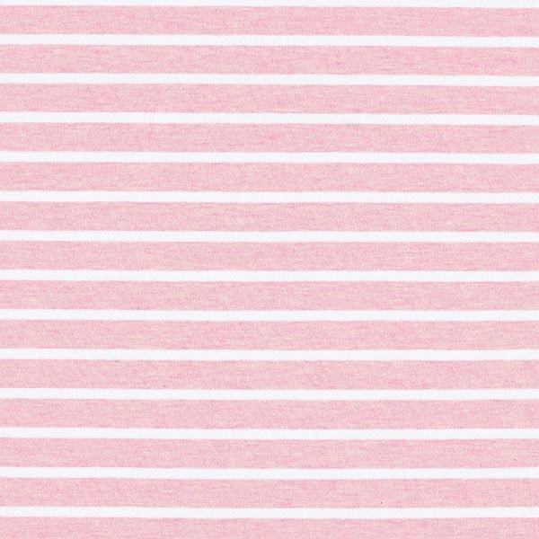 Albstoffe Jersey coton bande GOTS – rose/blanc