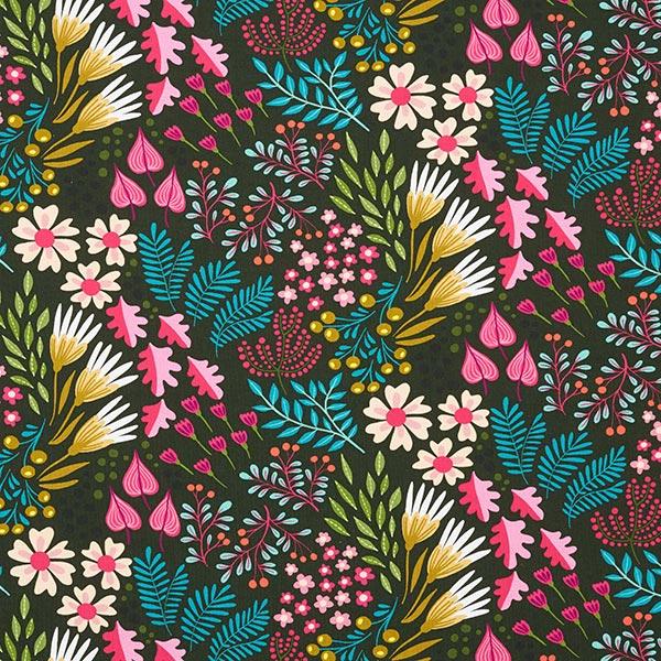 BLISS Flower Field Jersey GOTS – dunkeloliv | Albstoffe | Hamburger Liebe