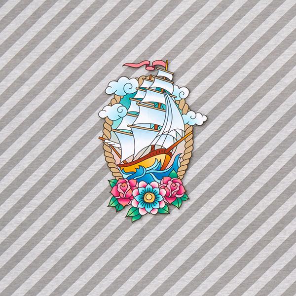 AHOY Sweat Sail Away Panel GOTS – grau | Albstoffe | Hamburger Liebe