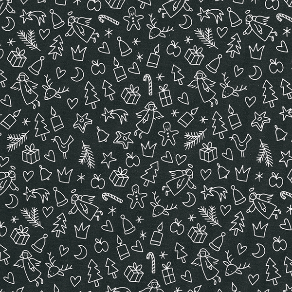 SHIELD PRO Jersey antimicrobien Merry X-Mas black – navy/blanc | Albstoffe