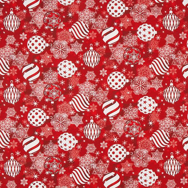 Tissu de décoration Canvas Boules de sapin de Noël – rouge