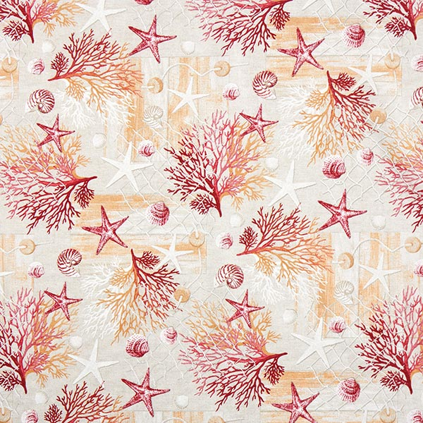 Tissu de décoration Canvas Collage marin – rouge/orange