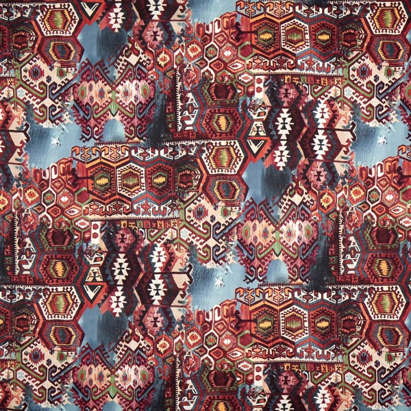 Jersey coton Kaléidoscope – rouge bordeaux/bleu
