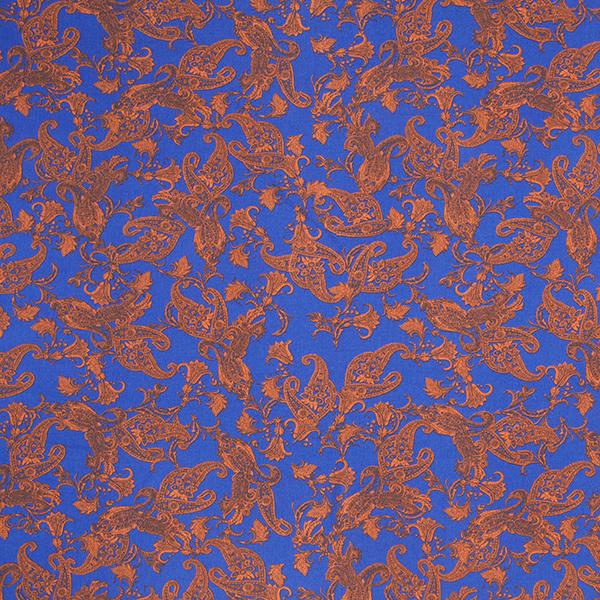 Viskosestoff Crinkle-Effekt Paisley – königsblau/terracotta