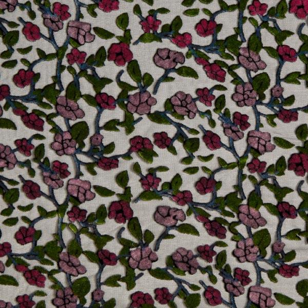 Chiffon Tissu dévoré Rinceaux de fleurs – noir/rose vif