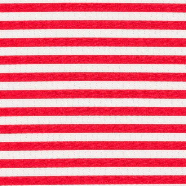 Jersey Cloqué Rayures transparentes – blanc/rouge