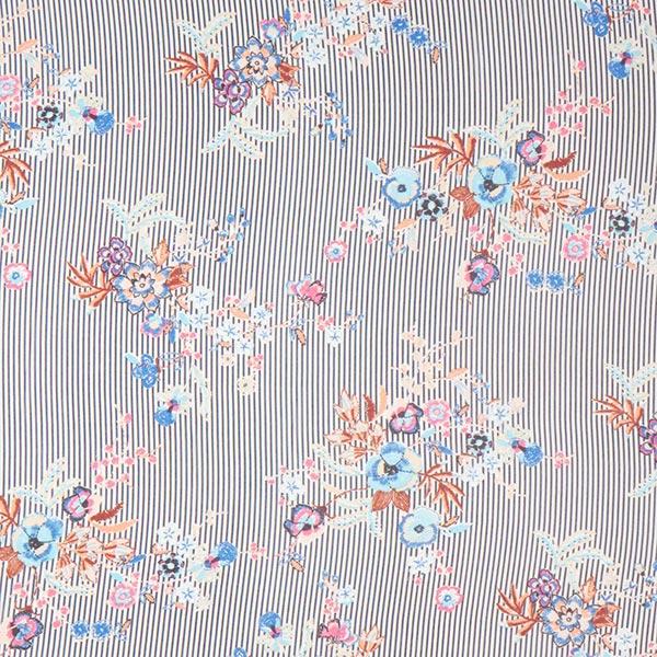 Chiffon Stoff Streifen & Blumen – marineblau/weiss