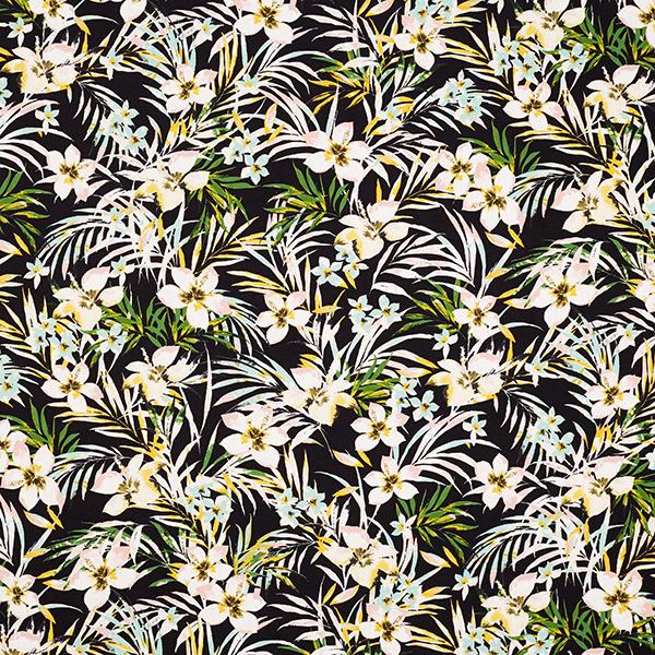 Tissu de chemisier Crêpe polyester Frangipanier – noir
