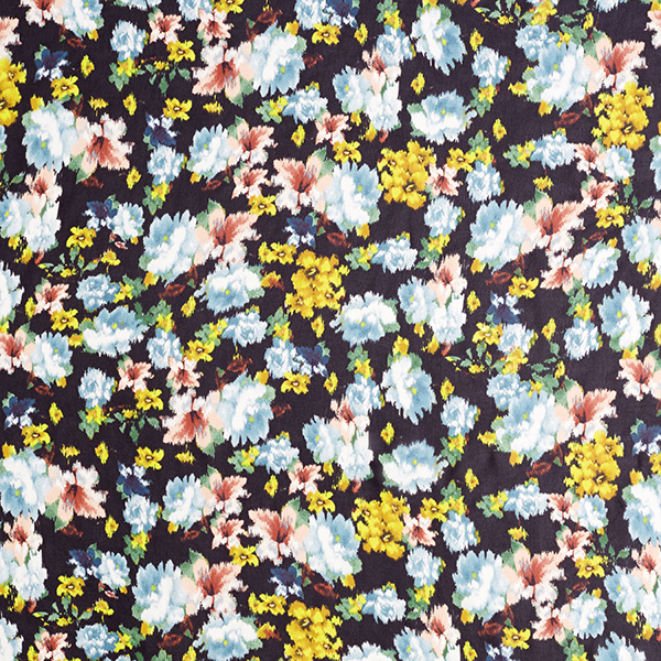 Chiffon polyester Fleurs aquarelles – noir