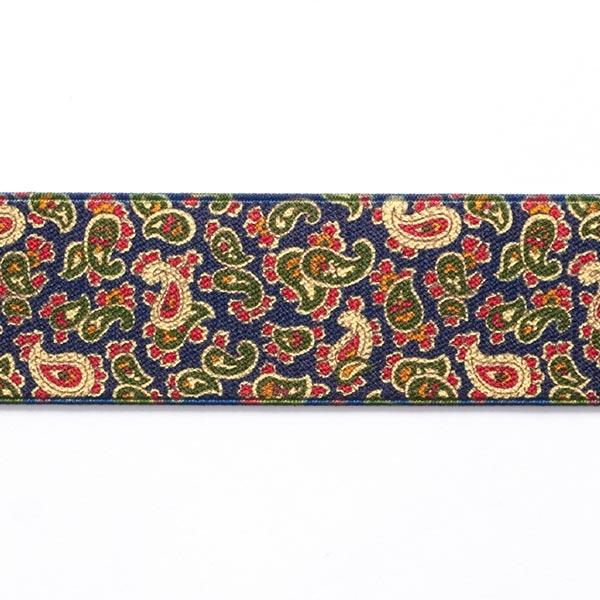 Gummiband Paisley  [ 3,5 cm ] – marineblau/grün