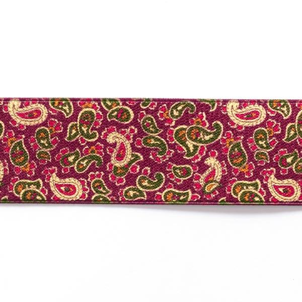 Ruban élastique Paisley  [ 3,5 cm ] – framboise/vert
