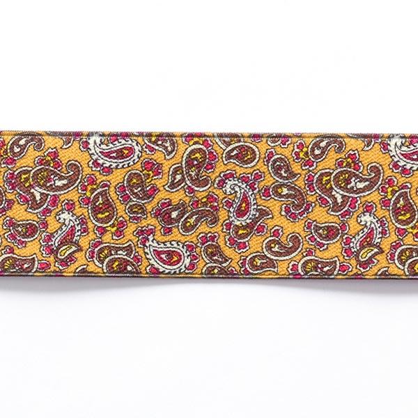 Ruban élastique Paisley  [ 3,5 cm ] – jaune/marron foncé