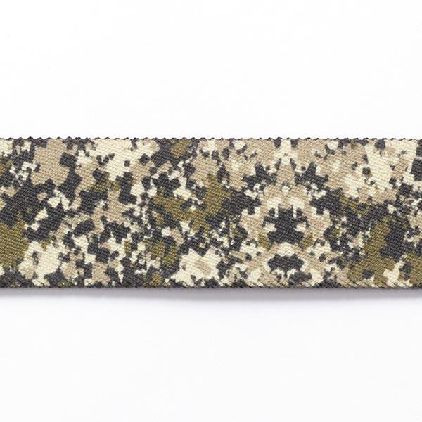 Gurtband Camouflage elastisch  [ 3,5 cm ] – dunkelgrün/wollweiss