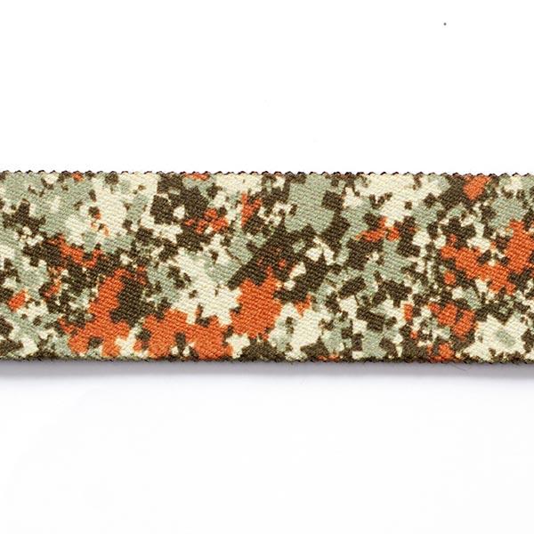 Sangle Camouflage élastique  [ 3,5 cm ] – vert foncé/terre cuite