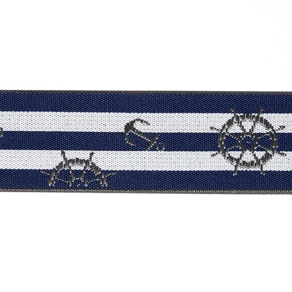 Ruban élastique Maritime - blanc / navy