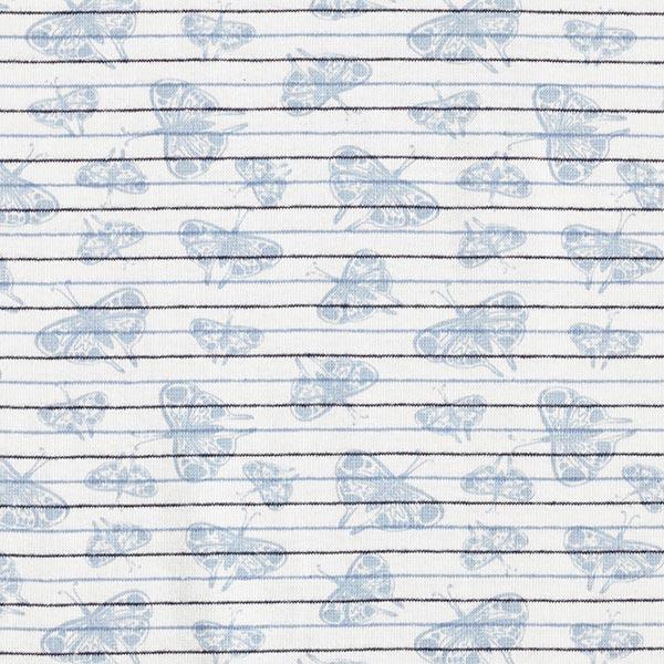 Baumwollbündchen Streifen & Schmetterlinge – weiss/marineblau