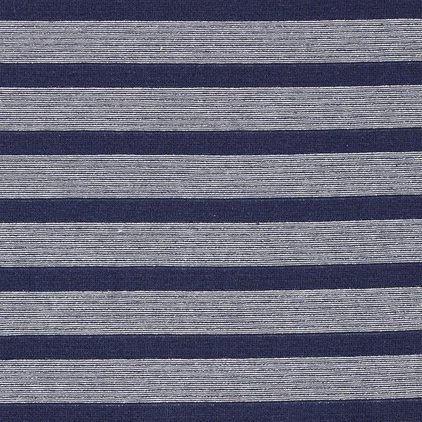Jersey coton Rayures scintillantes – bleu marine/argent