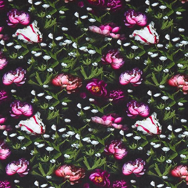 Jersey de coton bio Pivoines – noir/lilas