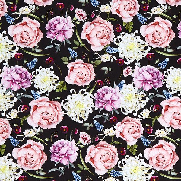 Jersey de coton bio Pivoines et jacinthes perles – noir/vieux rose