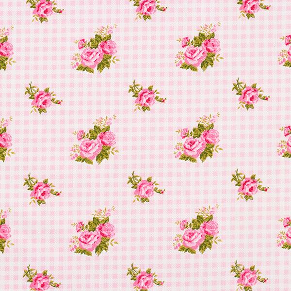 Satin de coton Roses sur carreaux – rose/blanc