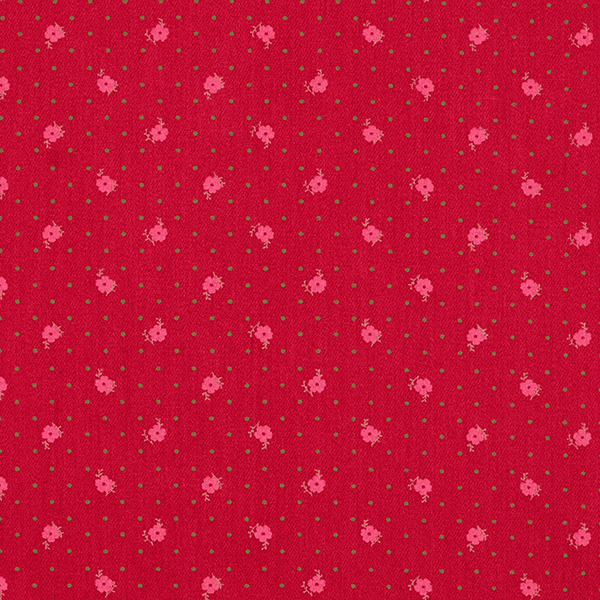 Satin de coton Fleurs et points – carmin