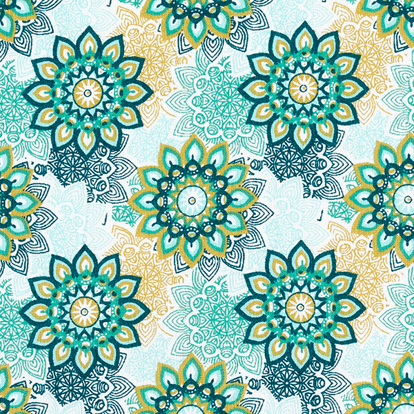 Tissu en coton Cretonne Mandala Fleurs – vert
