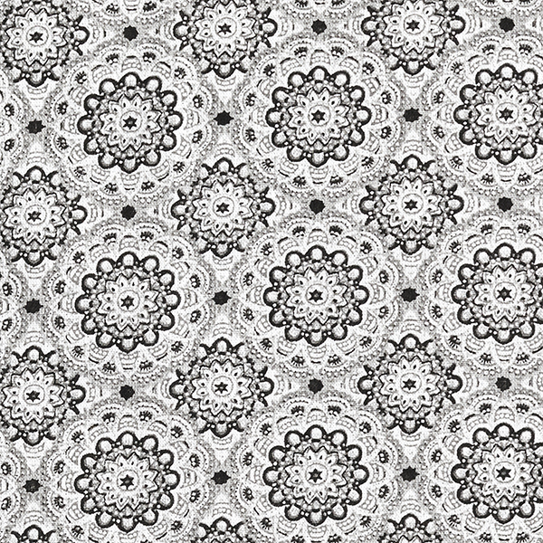 Tissu en coton Cretonne Mandala rétro – gris