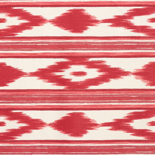 Dekostoff Canvas, beschichtet Ethno-Streifen – rot