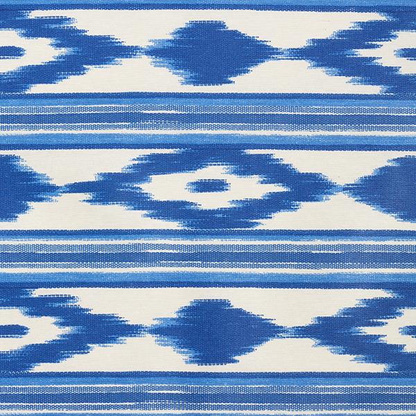 Dekostoff Canvas, beschichtet Ethno-Streifen – blau