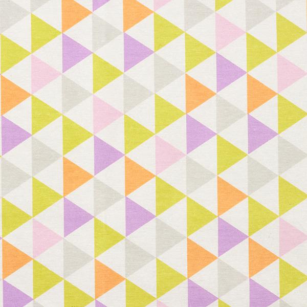Tissu de décoration Canvas enduit Triangles multicolores