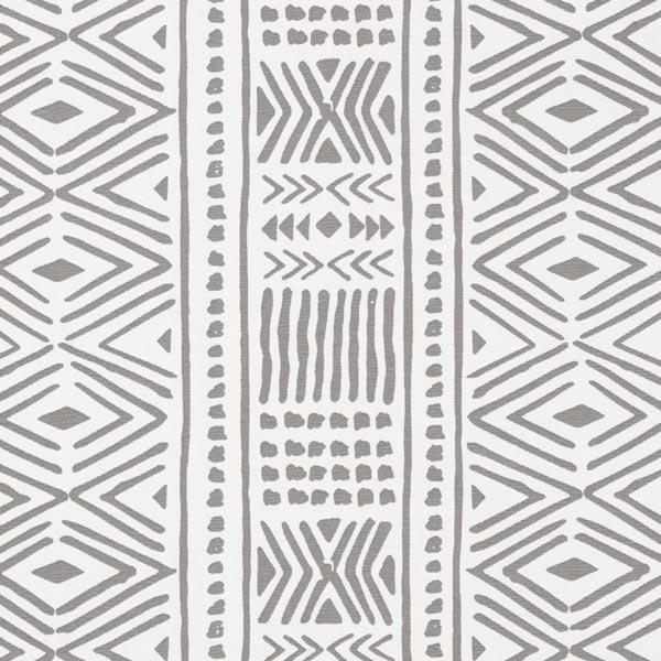 Tissu de décoration Canvas Ethno – gris/blanc