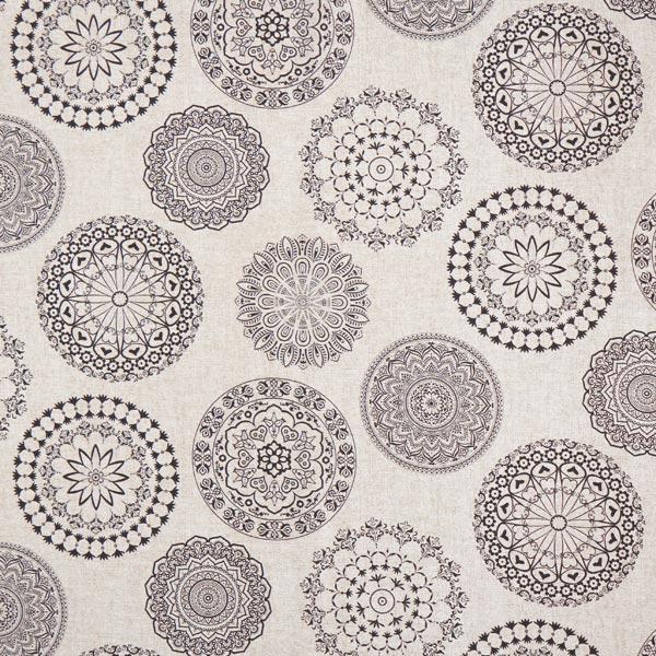 Tissu de décoration Canvas Mandala – beige/noir