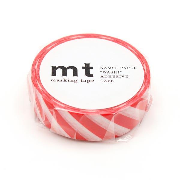 Masking Tape Rayures – rouge/blanc