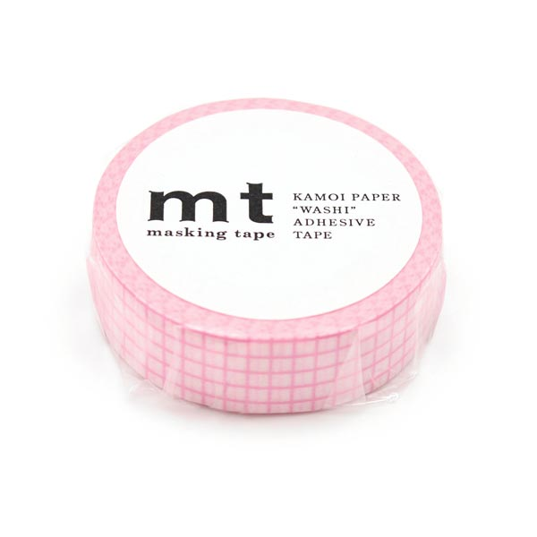 Masking Tape à carreaux – blanc/rose vif