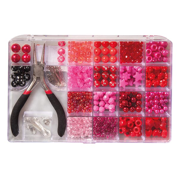 Perlen-Box mit Zange | Rayher – pink
