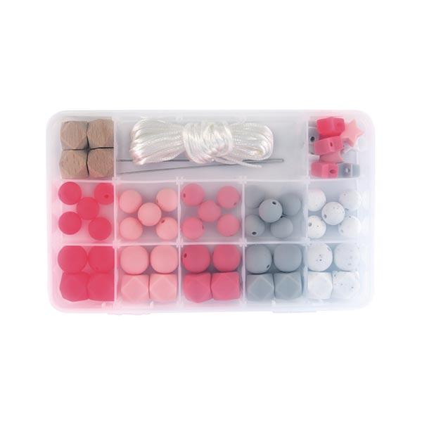 Boîte de perles en silicone   Rayher – rose