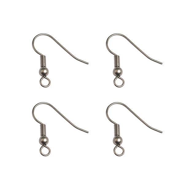 Crochets d'oreilles mat [4 Pièces] | Rayher – gris foncé