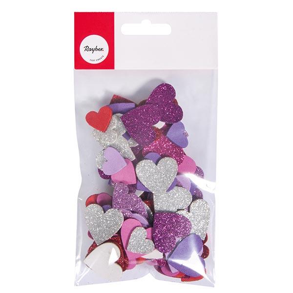 Moosgummi Herzen Glitter Set [ 100 Stück ] | Rayher