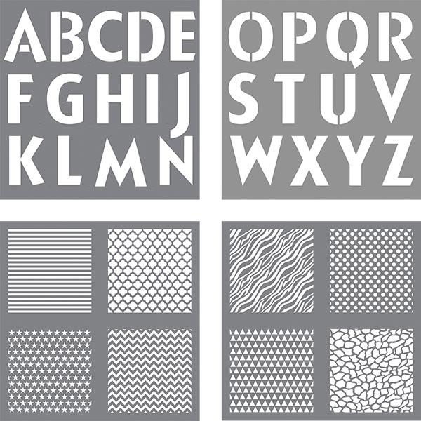 Schablone Buchstaben+Designs [ 4 Stück ] | Rayher