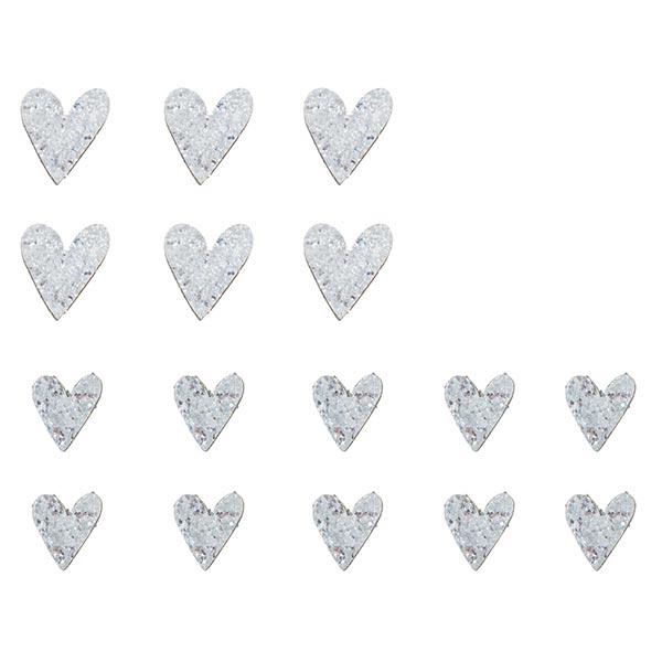 Bois Petits sujets Cœurs en paillettes Set [ 16Pièces ] | Rayher – argent