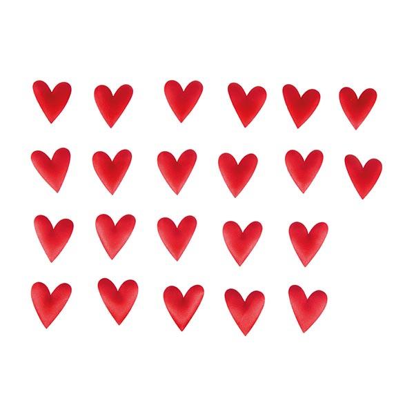 Satin Streuteile Herz Set [ 48 Stück ] | Rayher – signalrot