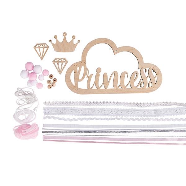 Set Pendentif en bois et rubans Princess | Rayher – nature/rose