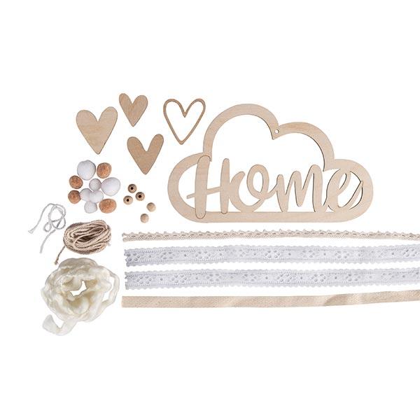 Set Pendentif en bois et rubans Home | Rayher – nature/crème