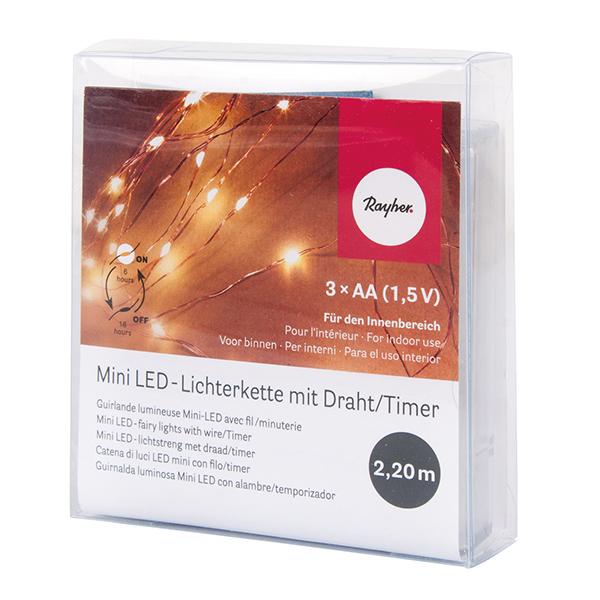 Mini guirlande lumineuse LED avec fil de fer et minuterie [ 220cm ]