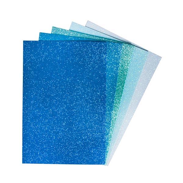 Moosgummi Platten Glitter, selbstklebend [ 5 Stück ] | Rayher – blau/türkis