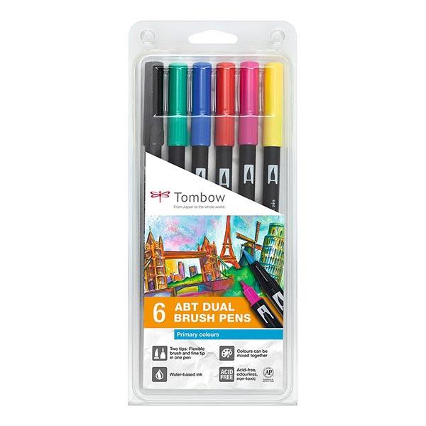 ABT Dual Brush Pen aquarelle Couleurs primaires Set [ 6 Pièces ] | Tombow