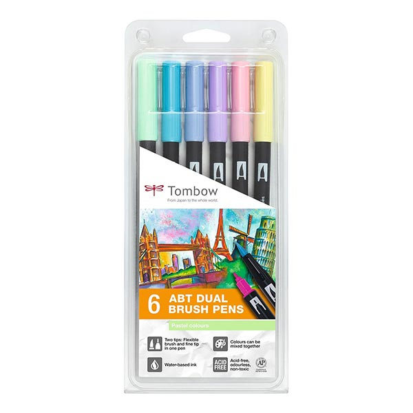 ABT Dual Brush Pen aquarelle Couleurs pastel Set [ 6 Pièces ] | Tombow
