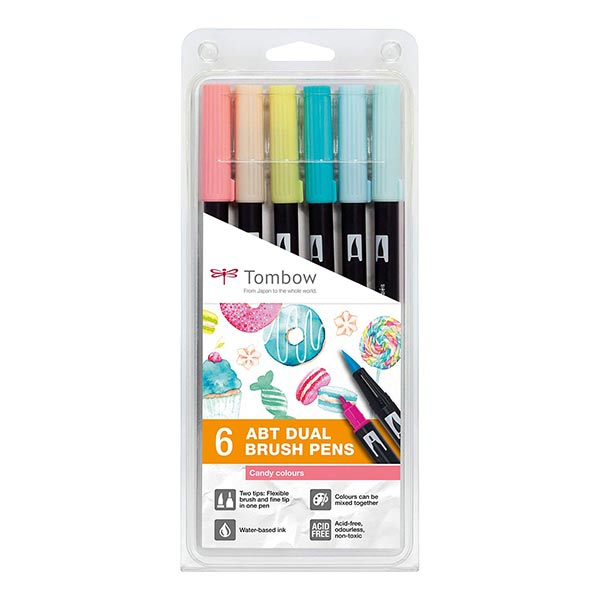 ABT Dual Brush Pen aquarelle Candy Colours Set [ 6 Pièces ] | Tombow