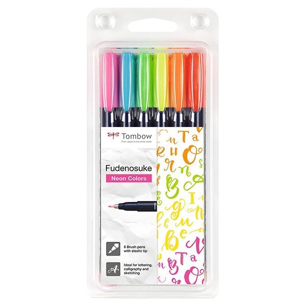 Brush Pen aquarelle Fudenosuke Couleurs fluo Set [ 6 Pièces ] | Tombow